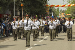 Military orchestra on parade in honor of the 69th anniversary of Stock Photos