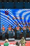 Military orchestra performs on stage. Royalty Free Stock Photo