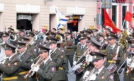 Military orchestra playing on the street Stock Photography