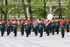 Military Orchestra plays music Royalty Free Stock Images