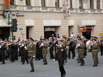 Military orchestra plays on the street Royalty Free Stock Photo