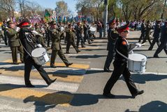 Military orchestra plays on Victory Day parade Royalty Free Stock Photos