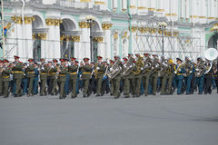 Military orchestra at the rehearsal of parade in honor of Victory Day. Saint Petersburg Royalty Free Stock Photo
