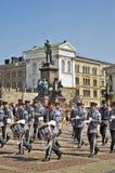 Military orchestra on Senate square in Helsinki. Finland Stock Photo