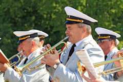 Military orchestra on street Stock Image