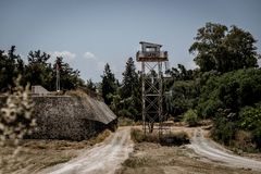 United Nations outpost in Nicosia, Cyprus, anandoned stock photos