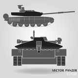 Military panzer isolated on gray background. Vector illustration Stock Photography