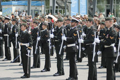 Military Parade. For Canada Day in Old Port of Montreal Quebec Canada July 1st 2009 Stock Image