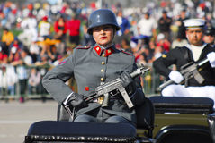 Military parade. Female soldier on military parade Stock Photo