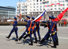 Military parade. CHELABINSK, RUSSIA - MAY 9, 2011: Military parade in honor of 66 anniversary of Victory in Great Patriotic War, 9 May 2011 on Lenin Square in Stock Photo