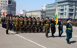 Military parade. CHELABINSK, RUSSIA - MAY 9, 2011: Military parade in honor of 66 anniversary of Victory in Great Patriotic War, 9 May 2011 on Lenin Square in Stock Images