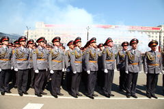 Military parade. CHELABINSK, RUSSIA - MAY 9, 2011: Military parade in honor of 66 anniversary of Victory in Great Patriotic War, 9 May 2011 on Lenin Square in Royalty Free Stock Photography