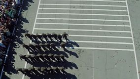 The military parade. Aerial photo. Army soldier walking. Aerial photo Parade stock video