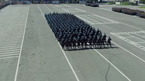 The military parade. Aerial photo. Army soldier walking. Aerial photo Parade stock video footage