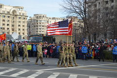 Military parade with american military Stock Images