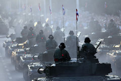 Military parade. Of armored vehicles Stock Photos