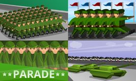 Military parade banner set, cartoon style vector illustration