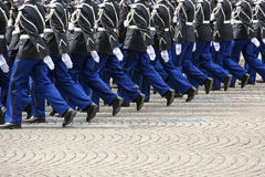 Military parade during the ceremonial Royalty Free Stock Image