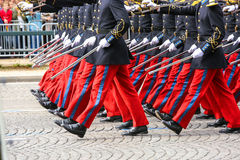 Military parade during the ceremonial. Close-uo of Military parade during the ceremonial stock photography
