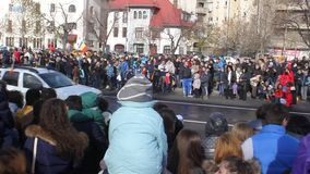 Military parade and crowd on edge stock footage