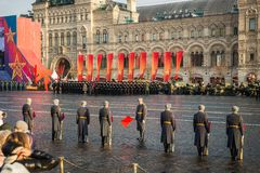 Military parade dedicated to the hisorical parade held in 1941 royalty free stock photography