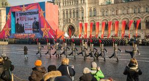 Military parade dedicated to the hisorical parade held in 1941 royalty free stock photo