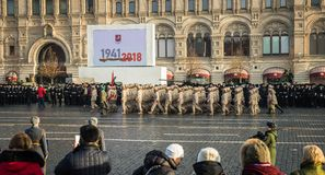 Military parade dedicated to the hisorical parade held in 1941 royalty free stock photos
