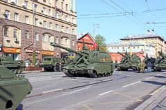Military parade dedicated to Victory Day in World War II in Mosc Stock Image