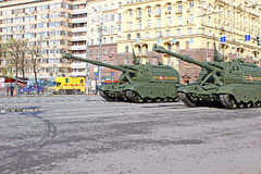 Military parade dedicated to Victory Day in World War II in Mosc Royalty Free Stock Images
