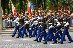 Military parade (Defile) during the ceremonial of french national day, Champs Elysee avenue. Stock Photo