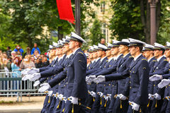 Military parade (Defile) during the ceremonial of french national day, Champs Elysee avenue. Royalty Free Stock Photos