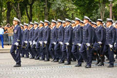Military parade (Defile) during the ceremonial of french national day, Champs Elysee avenue. Stock Photography