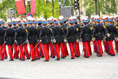 Military parade (Defile) during the ceremonial of french national day, Champs Elysee avenue. Royalty Free Stock Image