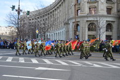 Military parade with flags Stock Image