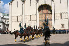 Military parade in front of Cathedral of the Annunciation , Krem Royalty Free Stock Image