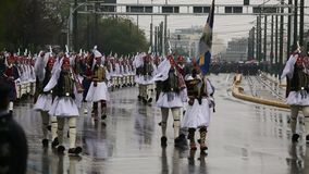 Military parade for the Greece Independence Day is an annual national holiday stock video