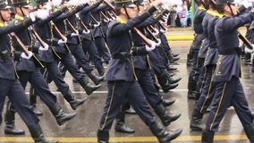 During Military parade for the Greece Independence Day is an annual national holiday stock video