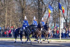 Military parade on horses for national day in Romania Stock Photos