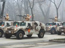 Military parade - hummer squad. Military bulletproof hummer vehicles marching for the national day Royalty Free Stock Images
