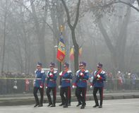 Military parade - infantry officers. Infantry officers in uniforms marching for the national day Royalty Free Stock Image