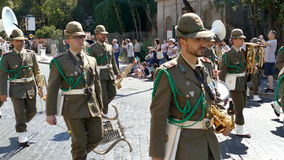 Military parade at Italian National Day. ROME, ITALY - JUNE 2, 2017: Military parade at Italian National Day. Musician and ski soldiers in formation, including stock video footage