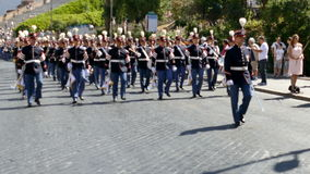 Military parade at Italian National Day. ROME, ITALY - JUNE 2, 2017: Military parade at Italian National Day. Musician soldiers in formation, including women stock video