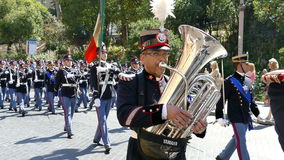 Military parade at Italian National Day. ROME, ITALY - JUNE 2, 2017: Military parade at Italian National Day. Musician soldiers in formation, including women stock video footage