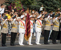 Military parade in Kiev. Parade in honour of Independence Day of Ukraine, a guard of honour stock image