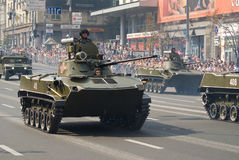Military parade in Kiev. Light tanks in the main street of capital of independent Ukraine, parade in honour of Independence Day stock photography