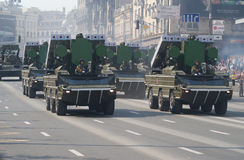 Military parade in Kiev. Rocket tanks in the main street of capital of independent Ukraine, parade in honour of Independence Day royalty free stock photography