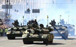 Military parade in Kyiv, dedicated to the Independence Day of Uk. KYIV, UKRAINE - AUGUST 24, 2018: Ukrainian tanks Т-84-120 `Yatagan` drive on Khreschatyk royalty free stock photo