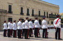 Malta - Military parade. Malta, Valletta - July 31, 2015: Ceremony of the formal handing over of responsibility from one guard to another at the Presidential Royalty Free Stock Images