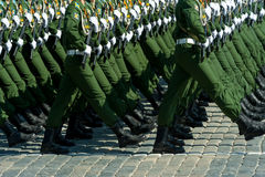 Military parade in Moscow, Russia, 2015. MOSCOW - MAY 7: Military participate at last rehearsal of the parade dedicated to the 70th anniversary of the victory in Royalty Free Stock Photography