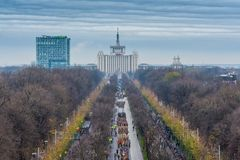 Romanian military parade. Military parade on the national day of Romania. View from the Arc de Triomphe stock photos